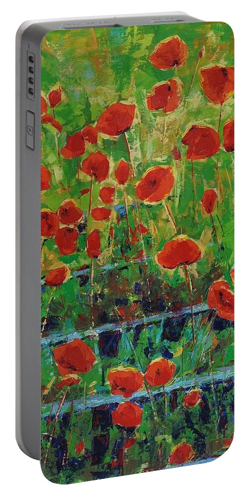 Poppies Portable Battery Charger featuring the painting Poppies And Traverses 1 by Iliyan Bozhanov