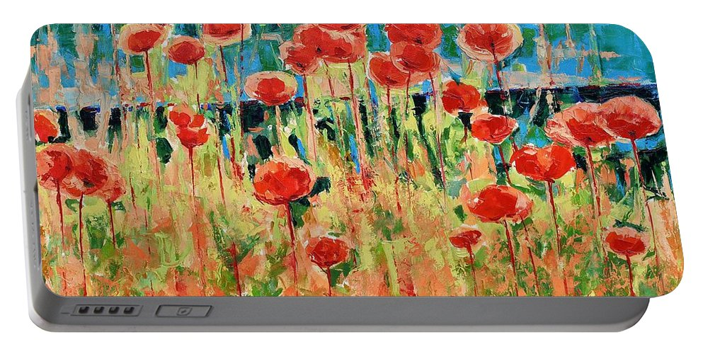 Poppies Portable Battery Charger featuring the painting Poppies And Traverses 2 by Iliyan Bozhanov