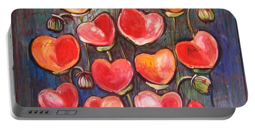Poppies Portable Battery Charger featuring the painting Poppies Are Hearts Of Love We Can Give Away by Laurie Maves ART