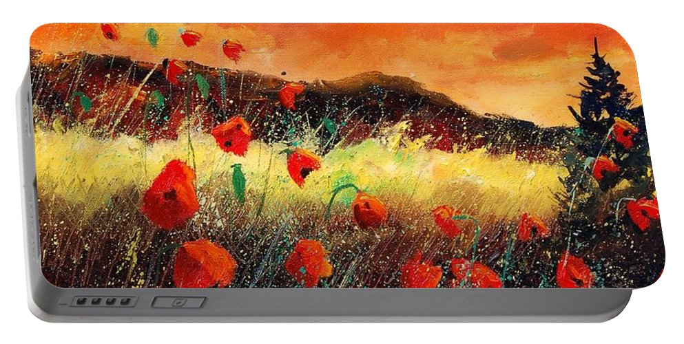 Poppies Portable Battery Charger featuring the painting Poppies At Sunset 67 by Pol Ledent