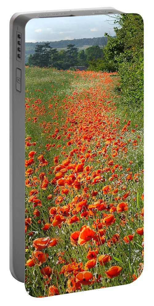 Poppies Portable Battery Charger featuring the photograph Poppies Awash by Bob Kemp
