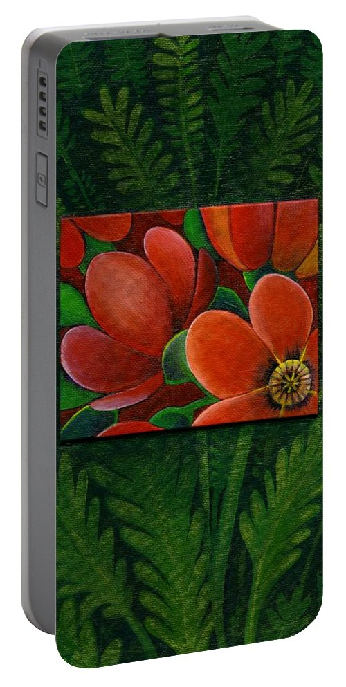 Poppy Portable Battery Charger featuring the painting Poppies by Helena Tiainen