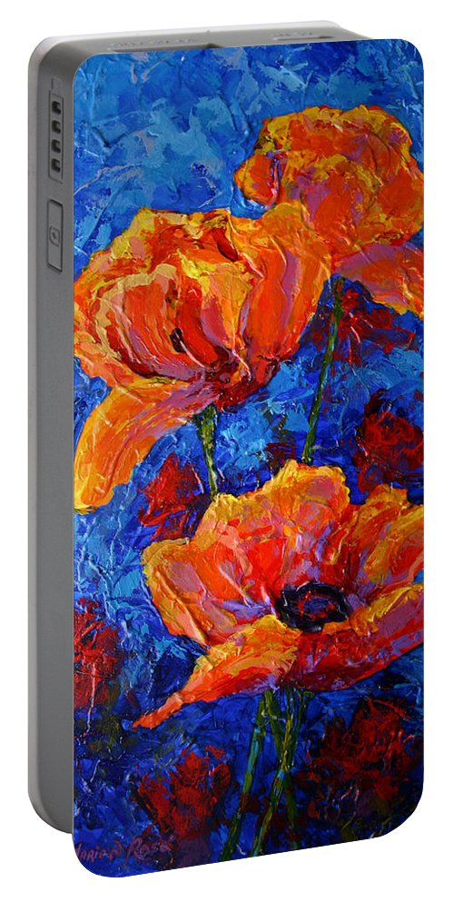 Poppies Portable Battery Charger featuring the painting Poppies II by Marion Rose