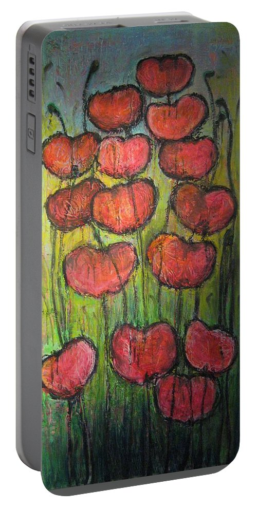 Poppies Portable Battery Charger featuring the painting Poppies in Oil by Laurie Maves ART