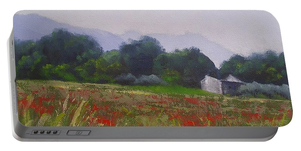 Tuscan Farm Painting Portable Battery Charger featuring the painting Poppies In Tuscany by Chris Hobel