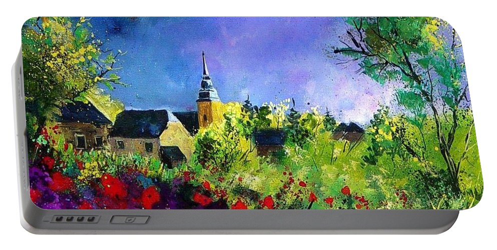Flowers Portable Battery Charger featuring the painting Poppies In Villers by Pol Ledent