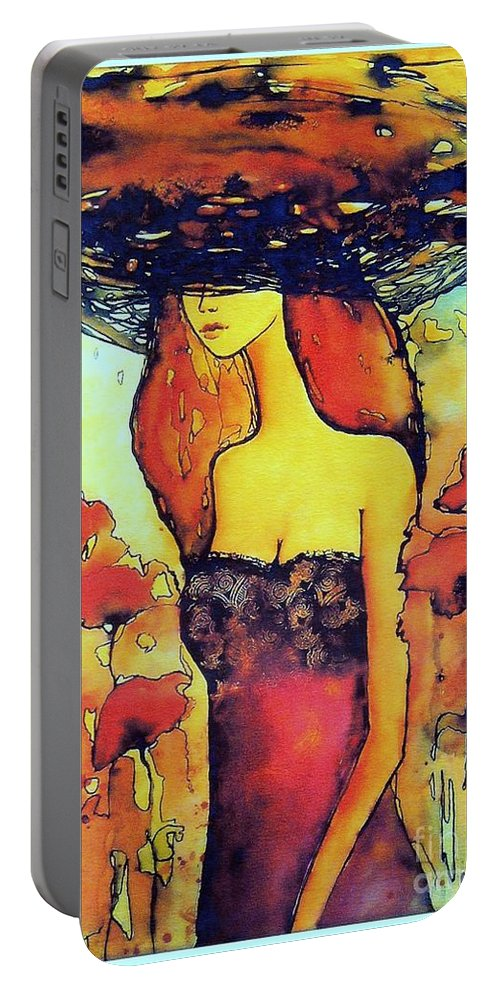 Red Portable Battery Charger featuring the painting Poppies Lady by Suzann Sines