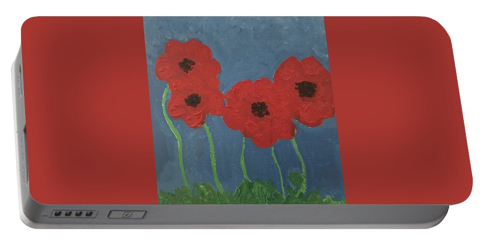 Portable Battery Charger featuring the painting Poppies by Lisa Porter