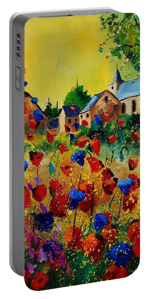 Flowers Portable Battery Charger featuring the painting Poppies Sosoye by Pol Ledent