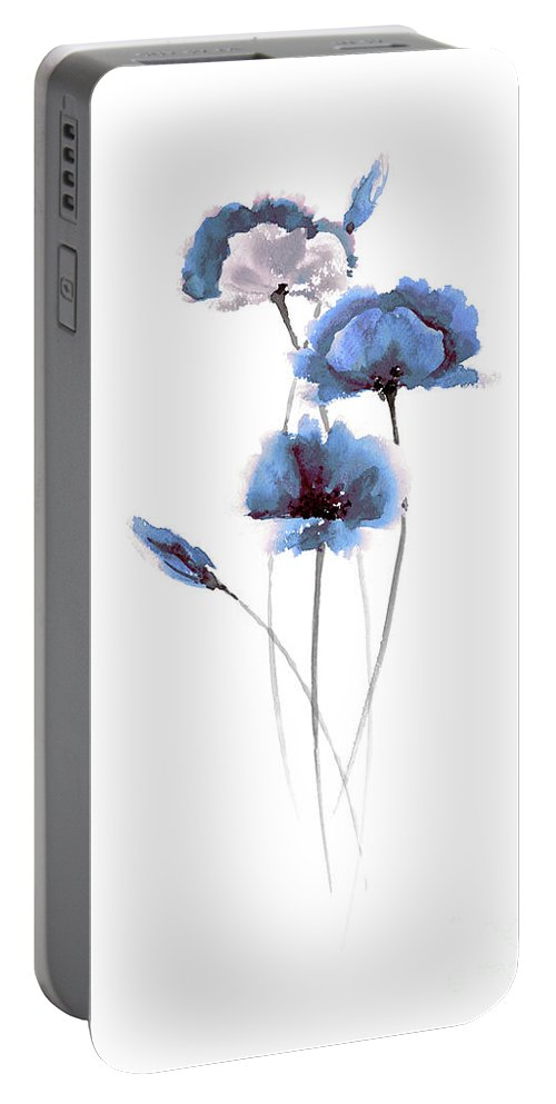 Prints Portable Battery Charger featuring the painting Blue Poppies Watercolor Painting, Poppies Abstract Art Print Of My Original Watercolor Painting by Joanna Szmerdt