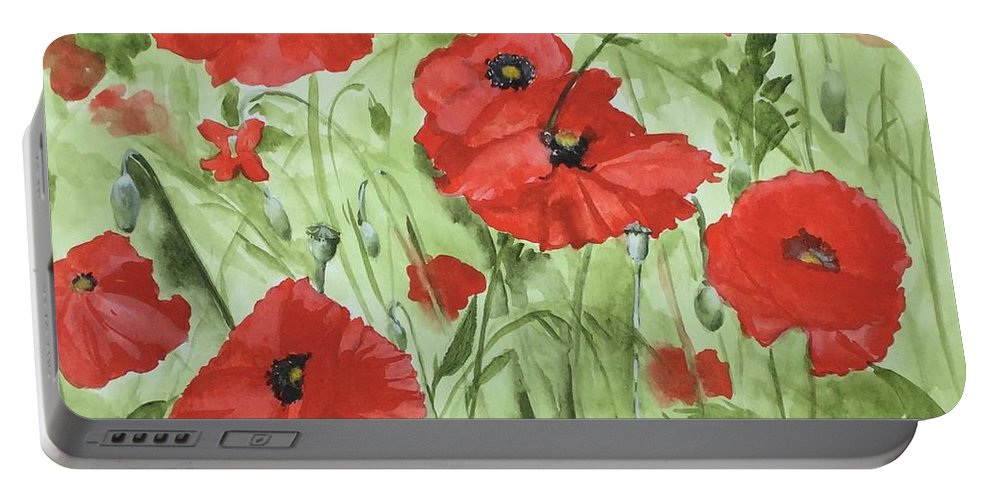 Red Portable Battery Charger featuring the painting Poppy Field 1 by Jean Blackmer