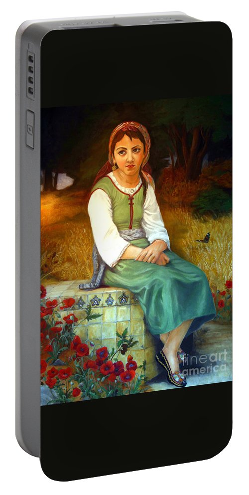 Landscape Painting Portable Battery Charger featuring the painting Poppy Field by Portraits By NC