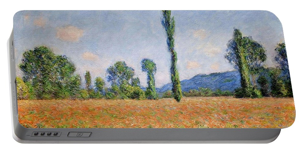Claude Monet Portable Battery Charger featuring the painting Poppy Field, Giverny by Claude Monet