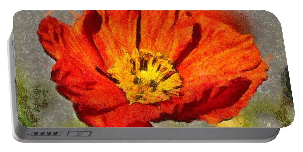 Red Portable Battery Charger featuring the painting Poppy - Id 16235-142749-5072 by S Lurk