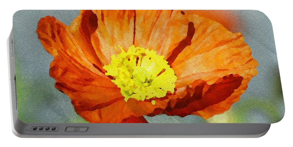 Red Portable Battery Charger featuring the painting Poppy - Id 16235-142758-2720 by S Lurk