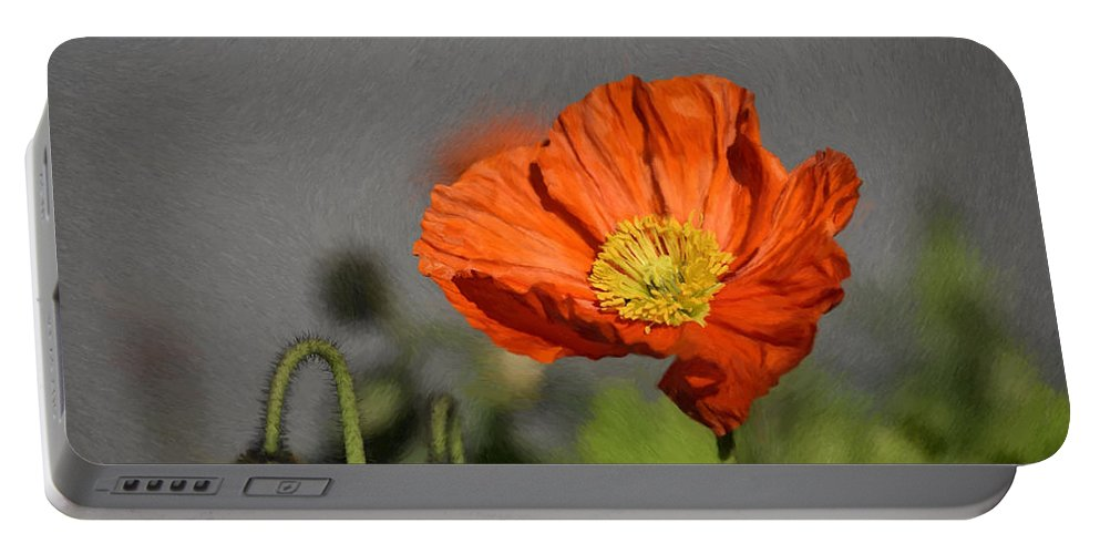 Red Portable Battery Charger featuring the painting Poppy - Id 16235-142806-2801 by S Lurk