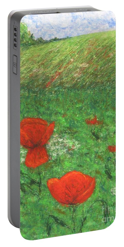 Nature Portable Battery Charger featuring the pastel Poppy In Country by Stella Velka