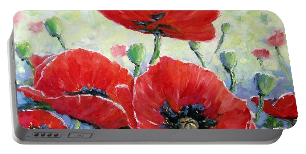 Art Portable Battery Charger featuring the painting Poppy Love Floral Scene by Richard T Pranke