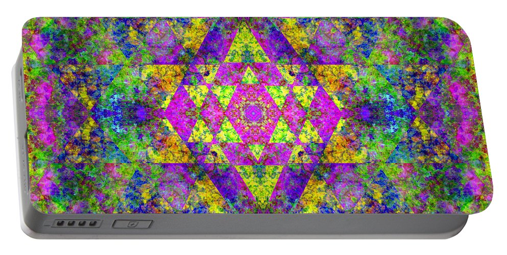 Sri Yantra Portable Battery Charger featuring the digital art Poppy Opal Yantra by Susan Bloom