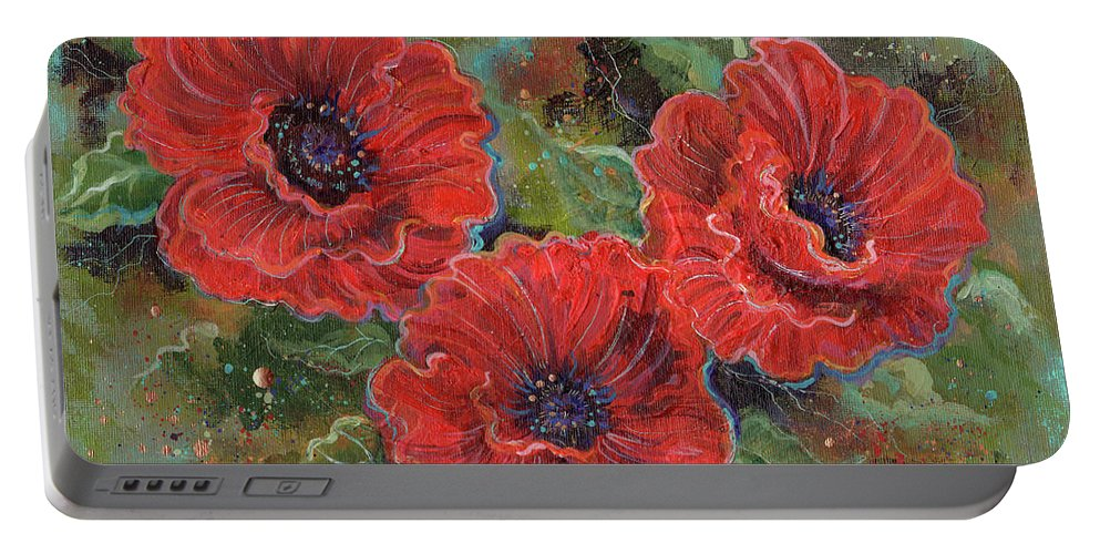Poppy Flowers Portable Battery Charger featuring the painting Poppy Splendor by Renee Lavoie