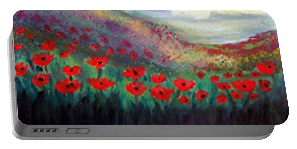 Landscape Portable Battery Charger featuring the painting Poppy Wonderland by Holly Martinson
