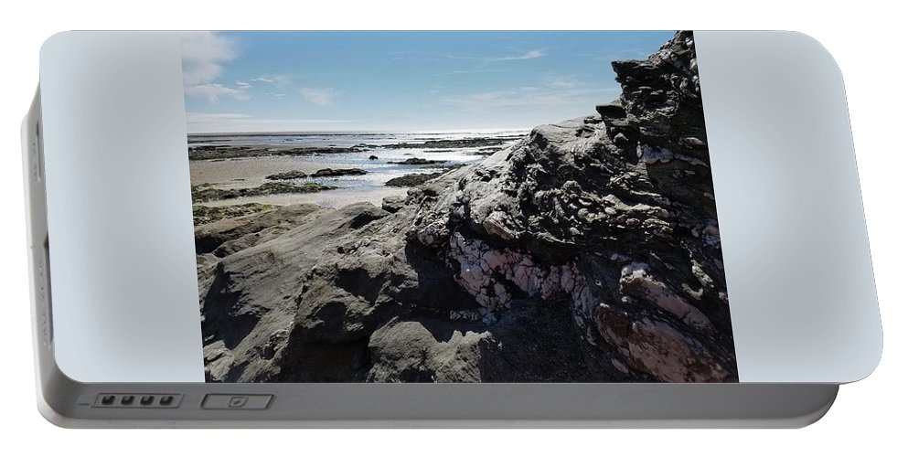 Beach Portable Battery Charger featuring the photograph Pornic 2 by Tindy McPhate