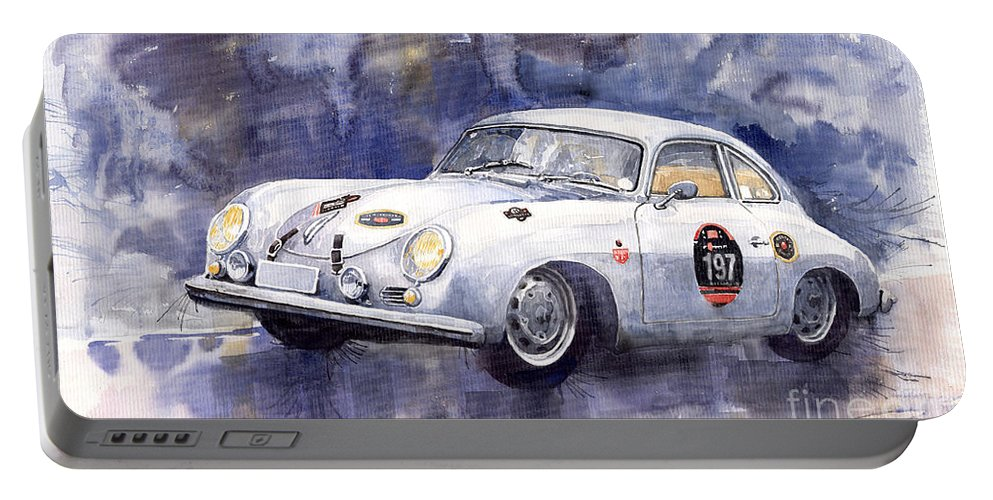 Watercolour Portable Battery Charger featuring the painting Porsche 356 Coupe by Yuriy Shevchuk