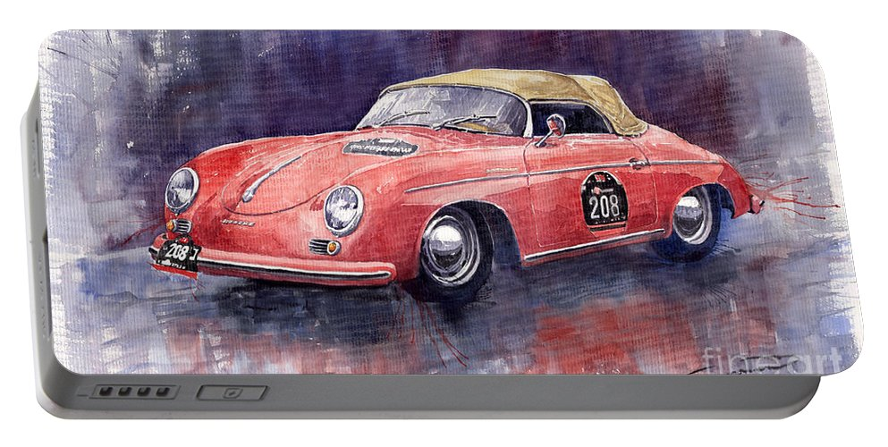 Watercolour Portable Battery Charger featuring the painting Porsche 356 Speedster Mille Miglia by Yuriy Shevchuk
