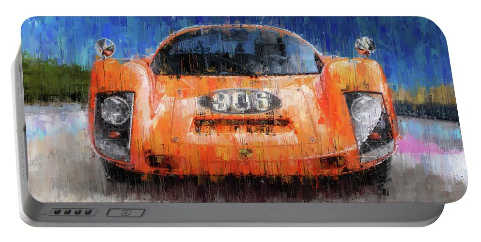 Porsche Portable Battery Charger featuring the painting Porsche 906 by Theodor Decker