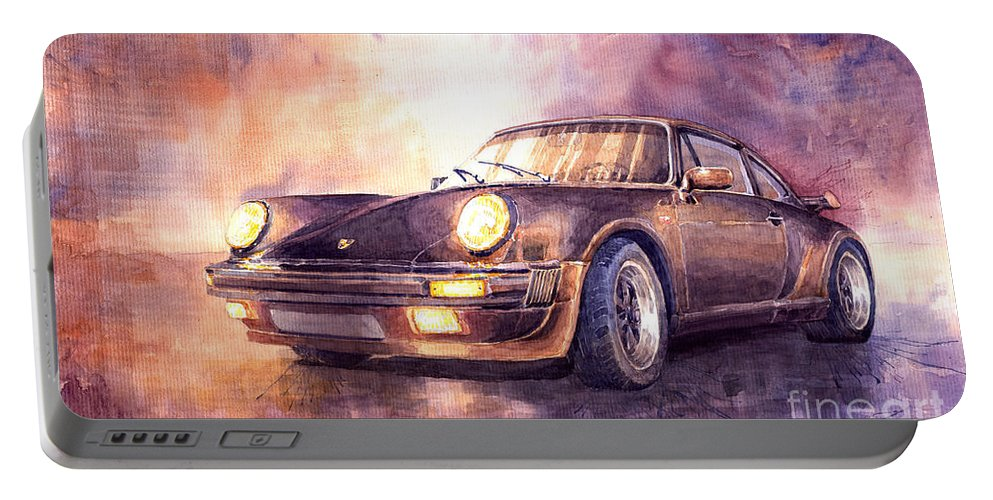 Shevchukart Portable Battery Charger featuring the painting Porsche 911 Turbo 1979 by Yuriy Shevchuk