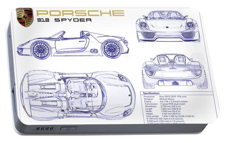Porsche 918 spyder blueprint portable battery charger for sale by porsche 918 spyder blueprint portable battery charger featuring the photograph porsche 918 spyder blueprint by jon malvernweather Images