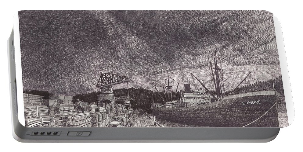 Port Of Tacoma Portable Battery Charger featuring the drawing Port Of Tacoma Wa Waterfront by Jack Pumphrey