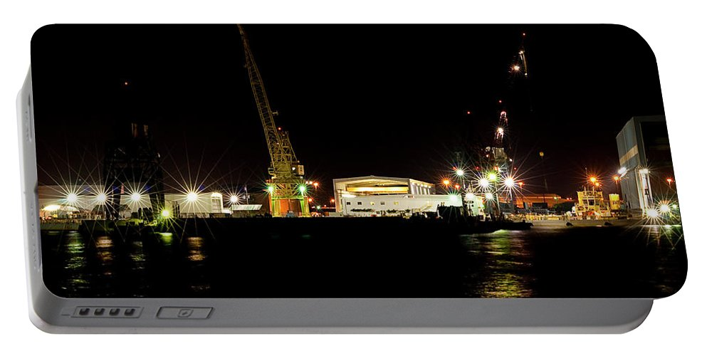 Port Portable Battery Charger featuring the photograph Port Of Tampa At Night by Carolyn Marshall