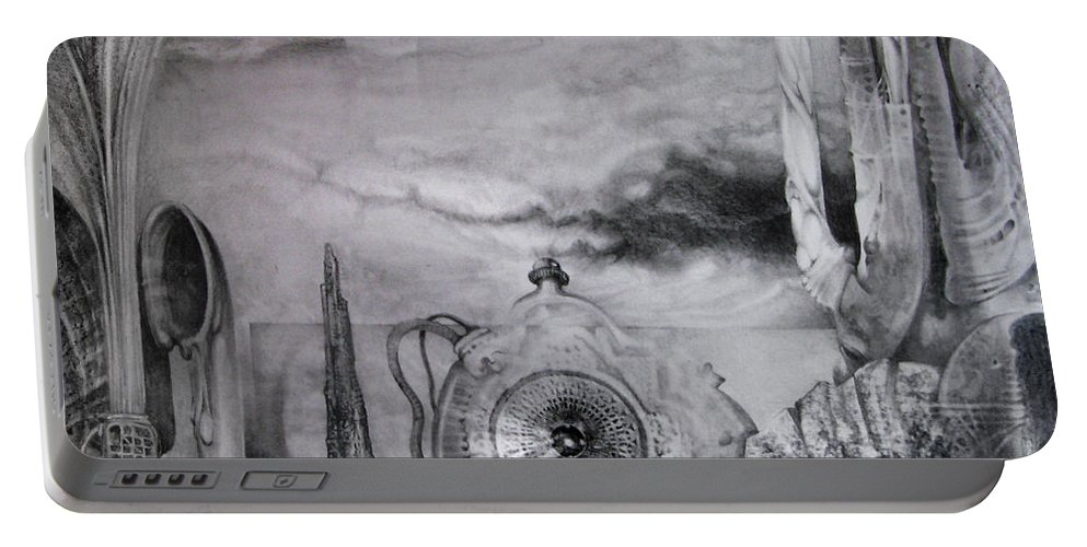 Graphite Drawing Portable Battery Charger featuring the drawing Portal To Bogomils Universe Iv by Otto Rapp