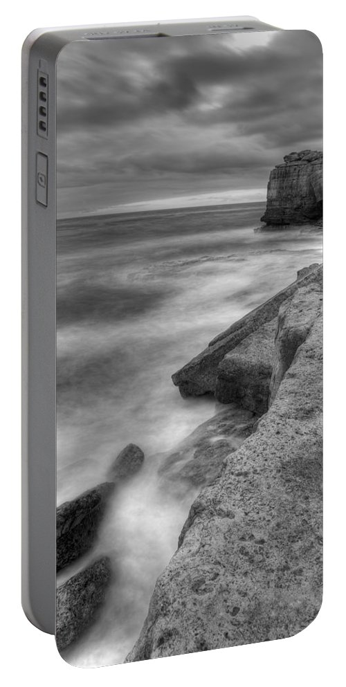 Portland Portable Battery Charger featuring the photograph Portland Bill Seascape In Black And White by Ian Middleton