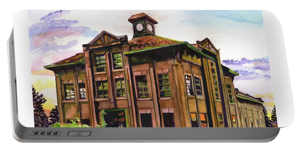 Paintings By Tracy Roland Portable Battery Charger featuring the painting Portland Gas And Coke Building Without Border by Tracy Dupuis Roland