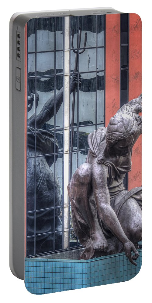 Statue Portable Battery Charger featuring the photograph Portlandia By Jean Noren by Jean Noren