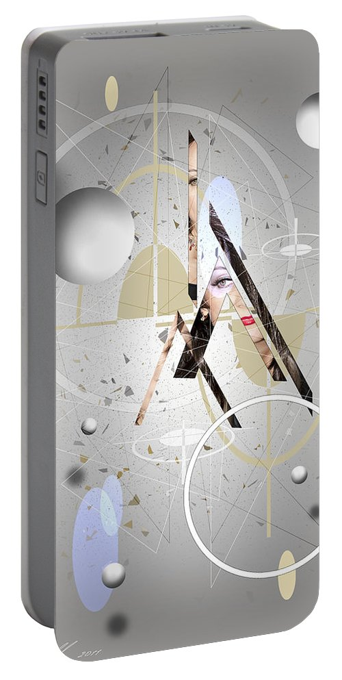 Abstract Portable Battery Charger featuring the digital art Portrait Abstract by Svetlana Sewell