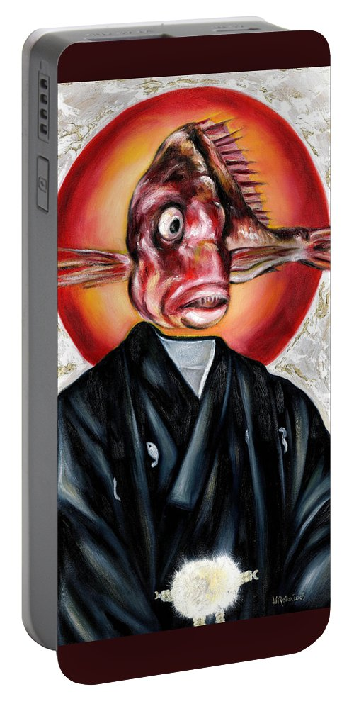 Japanese Portable Battery Charger featuring the painting Portrait by Hiroko Sakai