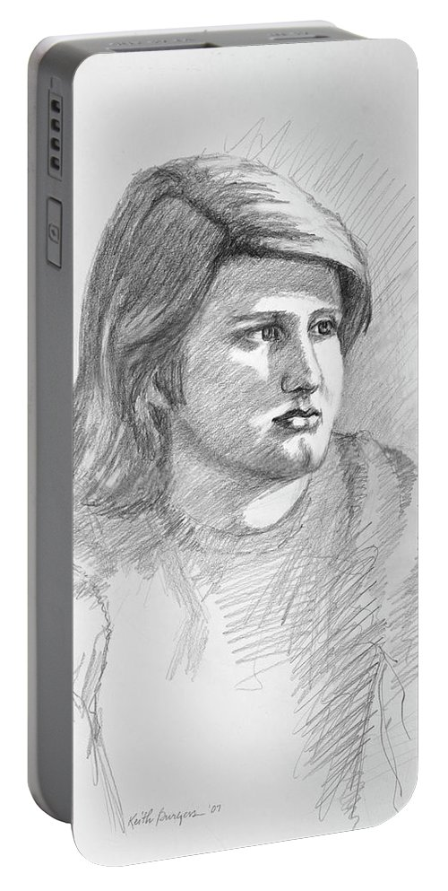 Realism Portable Battery Charger featuring the drawing Portrait Of A Boy by Keith Burgess