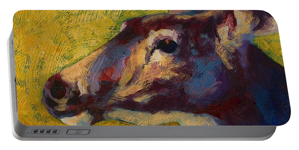 Deer Portable Battery Charger featuring the painting Portrait Of A Doe by Marion Rose