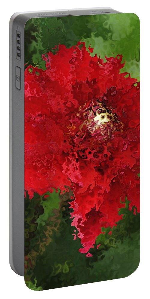 Portable Battery Charger featuring the mixed media Portrait Of A Flower by Kathleen Sartoris