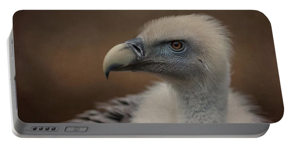 Griffon Vulture Portable Battery Charger featuring the photograph Portrait Of A Griffon Vulture by Eva Lechner