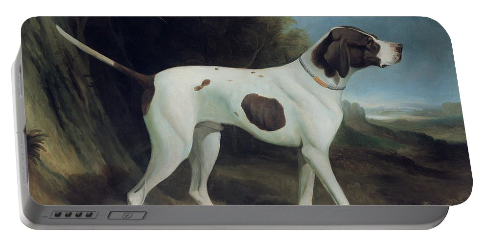 Portrait Of A Liver And White Pointer (oil On Canvas) By George Garrard (1760-1826) Portable Battery Charger featuring the painting Portrait Of A Liver And White Pointer by George Garrard