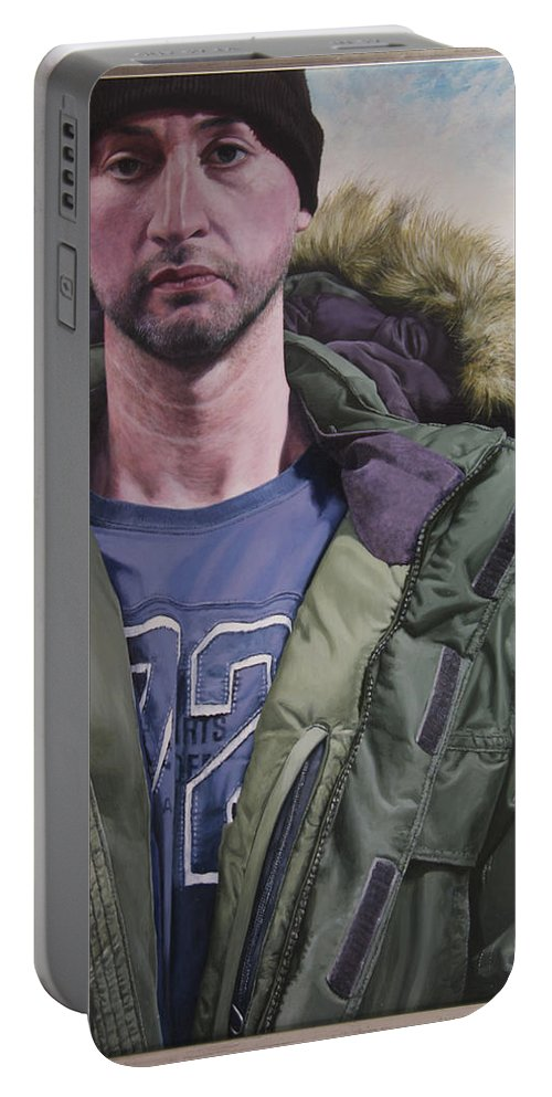 Wales Portable Battery Charger featuring the painting Portrait Of A Mountain Walker. by Harry Robertson