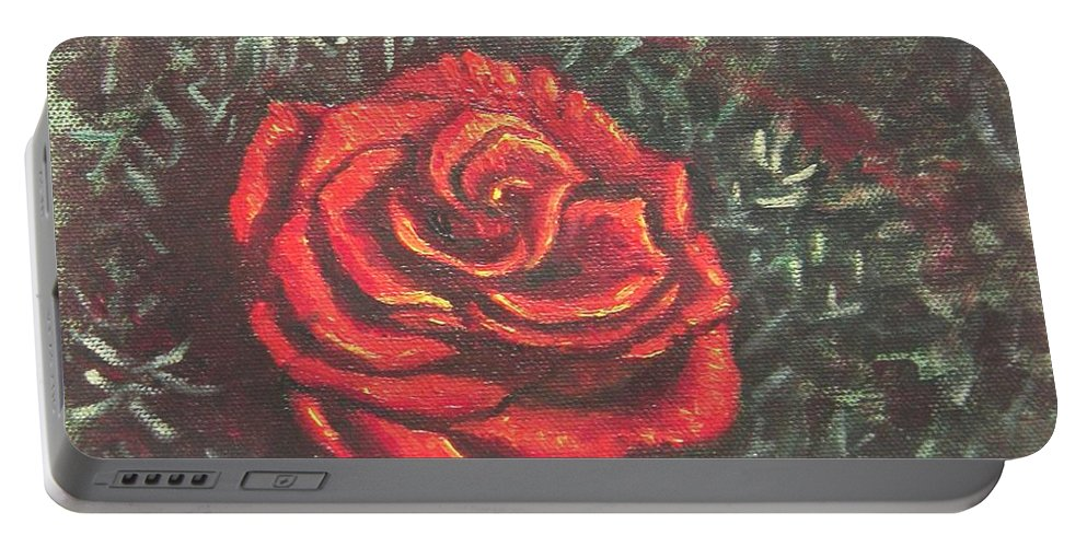 Portrait Portable Battery Charger featuring the painting Portrait Of A Rose 4 by Usha Shantharam