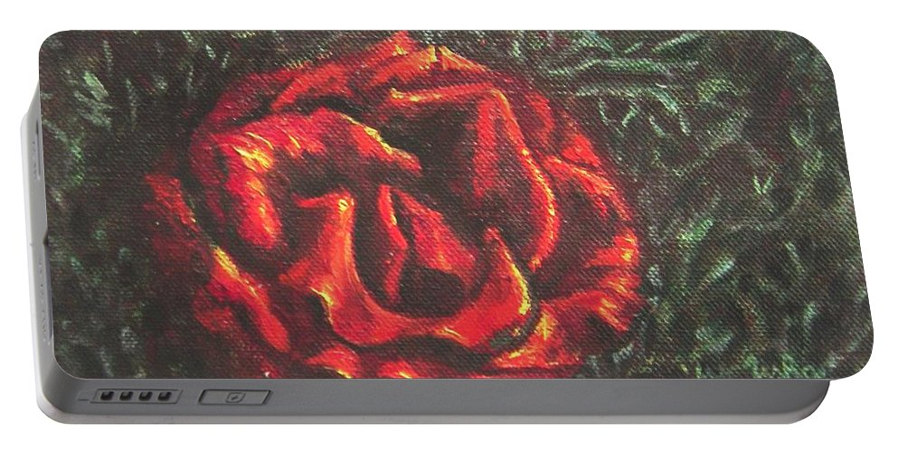 Portrait Portable Battery Charger featuring the painting Portrait Of A Rose 6 by Usha Shantharam