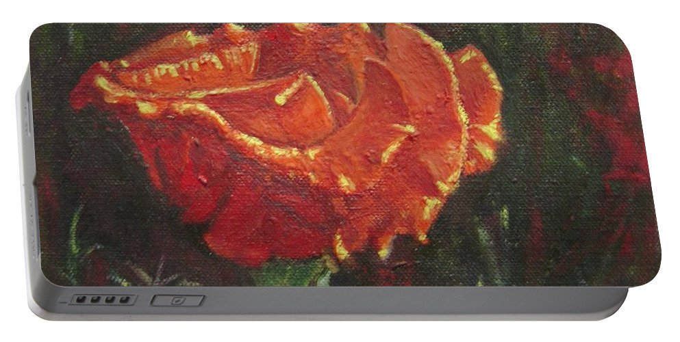 Portrait Portable Battery Charger featuring the painting Portrait Of A Rose 8 by Usha Shantharam