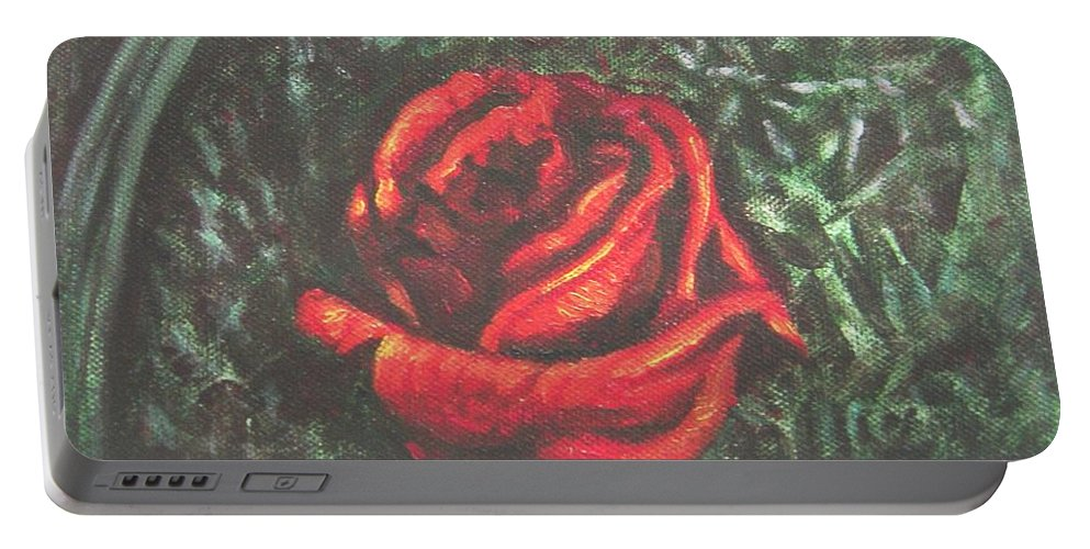 Rose Portable Battery Charger featuring the painting Portrait Of A Rose by Usha Shantharam