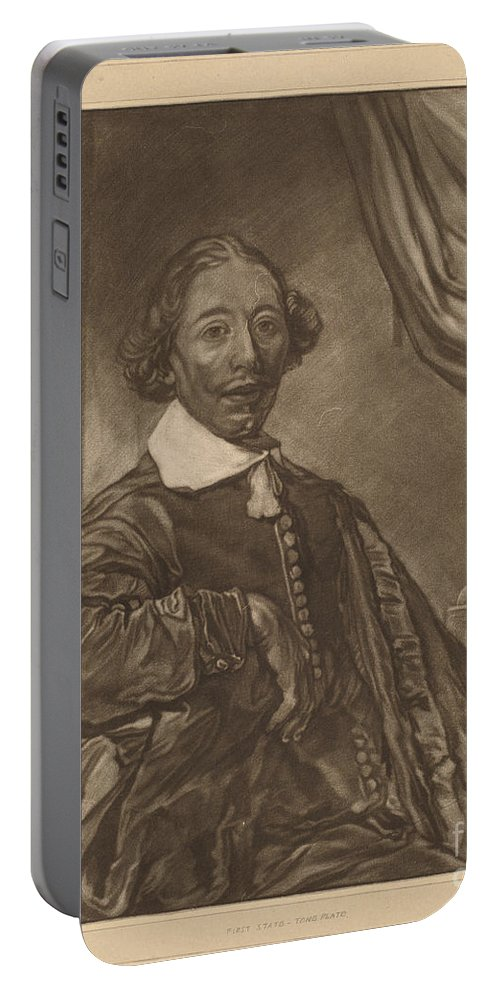 Portable Battery Charger featuring the drawing Portrait Of A Seated Man by Cornelis Ploos Van Amstel And Johannes Kornlein After Cornelis Visscher